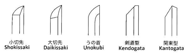 Les différentes finitions des Kissaki sur Bokken