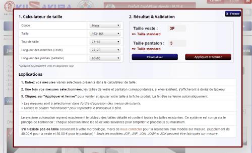 Le calculateur automatique de taille du site KuSakuraShop